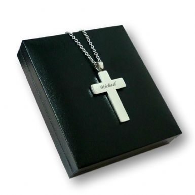 Stainless Steel Cross with Engraving for Man or Boy | Heavens Blessings